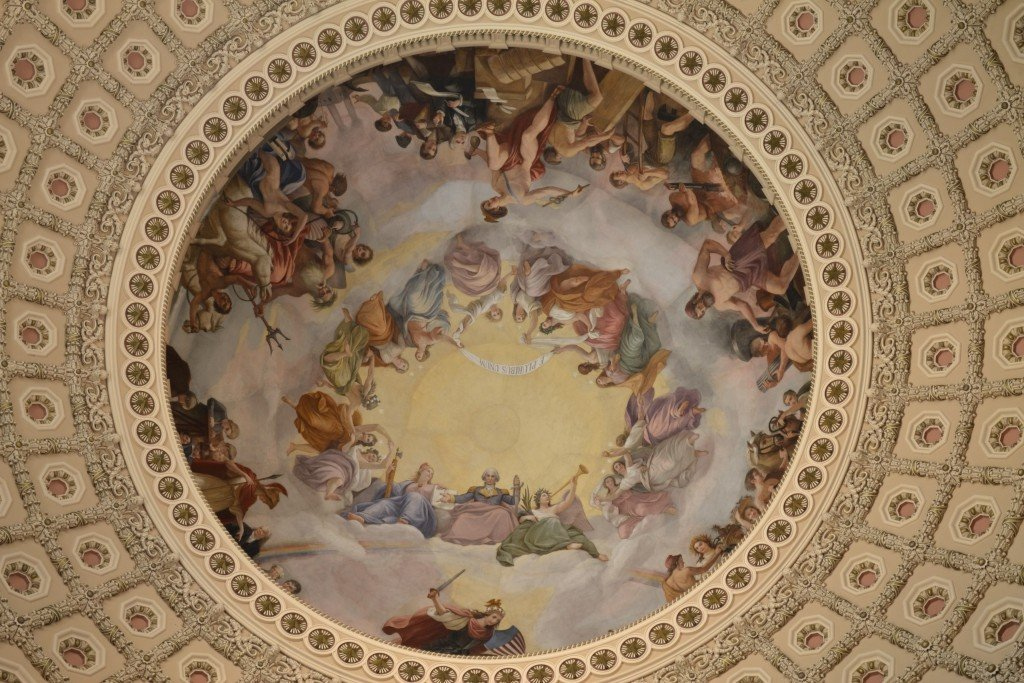 """The Apotheosis of Washington"", fresco in the dome of the U.S. Capitol by Constantino Brumidi"